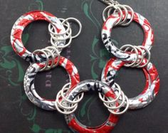 Recycled Soda Pop Tops.  Upcycled Statement Bracelet   ECO