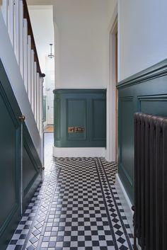Hall Tiles, Tiled Hallway, Victorian Hallway, Victorian Townhouse, Stair Paneling, Panelling, Black Hallway, Entrance Hall Decor, Narrow Hallway Decorating