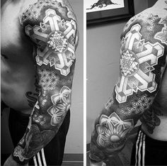 Sleeve Fine Line Sacred Geometry Tattoos For Males