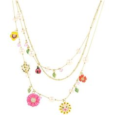 Betsey Johnson Garden Party Flower Ladybug Illusion Necklace ($55) ❤ liked on Polyvore