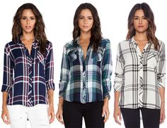 ✶Rails' plaid button-down shirts have become the new celebrity favorite item. Everyone from Megan Fox, Jessica Alba, Sarah Hyland and Gisele Bündchen to Lea Michele, Hilary Duff, Beyonce, Chloe Moretz and many more have been spotted sporting their favorite off-duty Rails shirt. Celebs love their easy wearability and that they transcend seasons, making them a true wardrobe staple that can be worn any time of year. You can buy Rails plaid shirts from Revolve Clothing and Shopbop.com✶