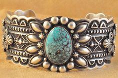 Handmade cuff bracelet, with natural rare Kingman Turquoise, by Navajo artist Darrell Cadman.