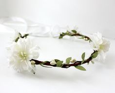 White Blossoms Floral Crown Bohemian Spring by rosesandlemons,