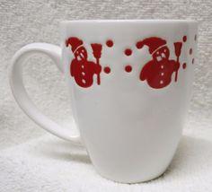 Waechtersbach GEORGE Latte/Coffee mug Cup RED snowman On White holiday EUC #Waechtersbach #snowmancoffee