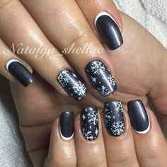 Accurate nails, Black and white nail ideas, Cute nails, February nails, Interesting nails, Jeans nails, Luxury nails, Nails by a dark blue dress