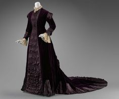 Reception dress, silk velvet and satin trimmed with silk satin and cotton machine lace, c. 1880, possibly American.