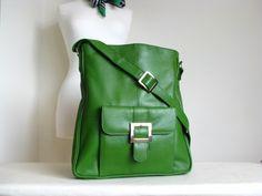 Kelly Green Leather Pocket Messenger Bag