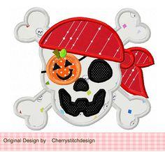 Halloween Pirate Skull Digital Applique 4x4 by CherryStitchDesign, $2.99