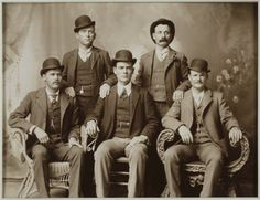 Butch Cassidy and the Sundance Kid. Butch Cassidy seated far right. Sundance Kid seated far left.Butch Cassidy and the Sundance Kid. Butch Cassidy seated far right. Sundance Kid seated far left. Sundance Kid, Gangsters, Churchill, Billy Kid, Old West Outlaws, Katharine Ross, The Wild Bunch, Into The West, Laurel And Hardy