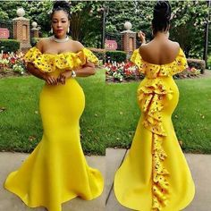 Yellow Mermaid Prom Dresses Off the Shoulder Lace Accents African Girl Black Girl Evening Formal Gowns · Tobebride · Online Store Powered by Storenvy African Fashion Designers, Latest African Fashion Dresses, African Dresses For Women, African Print Dresses, African Print Fashion, African Attire, African Wear, African Prints, Africa Fashion
