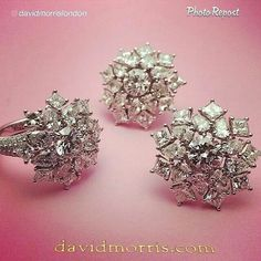"""By @davidmorrislondon """"Snow flakes In summer. Our new white diamond cluster earrings and cocktail ring. Now In the London store"""" via @PhotoRepost_app"""