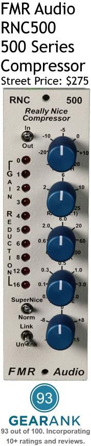 FMR Audio RNC500 Really Nice Compressor - 500 Series. Controls:Threshold, Ratio, Attack, Release, Gain. Input/Output Impedance: Not specified by manufacturer. Maximum Input Levels/Output Levels:+28dBu.. Attack: 0.2 to 200 ms. Release: 05 to 5 sec. Ratio: 1:1, 2:1, 6:1, 10:1, 25:1. Threshold: -40dB to +20dB. For a detailed guide to 500 Series Compressors see https://www.gearank.com/guides/500-series-compressors