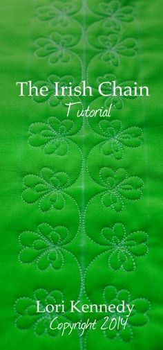 Quilting Ideas The Irish Chain, Free Motion Quilt Tutorial - Well you're in for some good luck today! We have a lovely pattern to stitch and whether you are Irish or not, this motif looks great on any quilt. Stitched on green fabric, like this Kona c… Patchwork Quilting, Quilt Stitching, Longarm Quilting, Free Motion Quilting, Quilting Tips, Quilting Tutorials, Quilts, Modern Quilting, Quilting Stencils