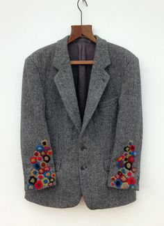 Harris Tweed Jacket Hand Embroidered : Hand Embroidered Harris Tweed Jacket by didyoumakeityourself Embroidered Clothes, Embroidered Jacket, Embellished Jackets, Embroidery Stitches, Hand Embroidery, Harris Tweed Jacket, Tweed Coat, Wool Coat, Visible Mending