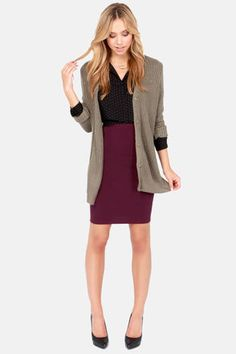 Sketched Out Burgundy Pencil Skirt