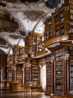 "Abbey of St Gall Library, 1763. St Gallen, Switzerland. The library has many forms of decoration, including putti in niches above the cases, representing the mechanical disciplines and the fine arts.From ""The Library: A World History"" by Cambridge University architectural historian James Campbell and photographer Will Pryce."