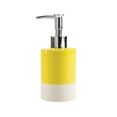 Update your bathroom or kitchen bench with this dip-glazed ceramic soap dispenser. The colour is gloss with a white matte base. Available in mint, black, yellow, grey and blue.