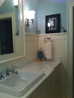 Frameless Mirror Wainscotting Beadboard Design Ideas, Pictures, Remodel, and Decor - page 9