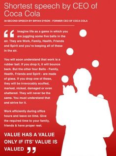 Speech from the former CEO of Coca-Cola on work-life balance. #work #job #inspiration www.michigancreative.org