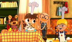Telmo y Tula, dibujos animados infantiles, serie caricaturas animadas. Recetas para niños, cocinar con niños tartas, bizcochos y postres. Recursos educativos
