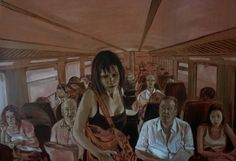 """train"" by Sigal Miller - An oil painting size 36 inch on 52 inch"