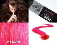 """Vivid Hair 25 Strands Straight Pre Bonded U Nail Tip Fusion Remy Human Hair Extensions 22"""" Inches Fuchsia Pink (Fuxia)Color by Vivid Hair. $30.99. Texture & Length : Straight 22"""" inches long. Color: Fuxia (Fuchsia) Pink. Hair Type: Remy Silky Human Hair. Quantity: 25 Strands. Glue Tip: Keratin U Tipped (Nail Shape). Each strand has approx 180 individual hairs that are bonded together on the ends by a keratin protein glue shape of Nail shape hair that is melted by a fusion iron ..."""