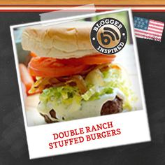 Enjoy double the deliciousness with this Double Ranch Stuffed Burgers #recipe! #cookingupgood