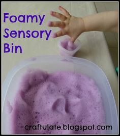 For when he stops putting everything in his mouth--Foamy Sensory Bin