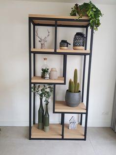 Rustic Bookcase, Modern Bookcase, Metal Furniture, Home Furniture, Furniture Design, Living Room Decor, Bedroom Decor, Metal Shelves, Wood And Metal