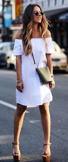 perefct outfit white dress + bag