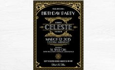 Gatsby Black and Gold Invitation Art Deco by WestminsterPaperCo