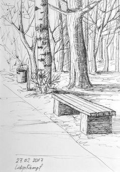 Landscape Sketch Nature Pencil Drawings 15 New Ideas Tree Drawings Pencil, Landscape Pencil Drawings, Landscape Sketch, Art Drawings Sketches, Landscape Art, Simple Landscape Drawing, Landscape Edging, Landscape Pictures, Urban Landscape