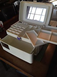 Vintage White Caboodles Makeup Jewelry Travel Case 3 Tier Blue 2420 | eBay