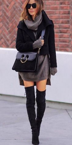 #winter #outfits black jacket