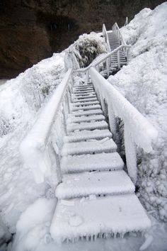 ethertune: Seljalandfoss/ South Iceland (By Iceland Like A Local / Destination Islande) Glad I don't have to climb THOSE stairs! Winter Szenen, I Love Winter, Winter Magic, Winter White, Ice Storm, I Love Snow, Snow Scenes, Snow And Ice, Winter Photos