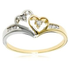 14k Two-Tone Diamond Heart Ring (1/10 cttw, H-I Color, I2 Clarity), Size 7