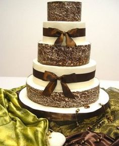 brown and white wedding cake