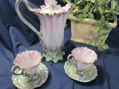 VINTAGE ROYAL BAYREUTH ROSE COLOR POPPIES CHOCOLATE POT W/2 MATCHING TINY CUPS | eBay