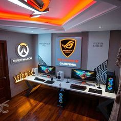 Video game room ideas, game room setup, gaming setup for bedroom, PC game setup, gaming console room Best Gaming Setup, Gaming Room Setup, Computer Setup, Pc Setup, Desk Setup, Pc Desk, Gaming Rooms, Gaming Computer, Office Games