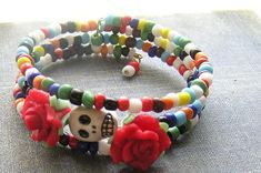 Check out this item in my Etsy shop https://www.etsy.com/listing/277154044/day-of-the-dead-bracelet-frida-sugar