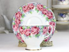 Royal Standard Teacup, Tea Cup and Saucer, Rose of Sharon, Fluffy Pink Roses, Fine Bone China