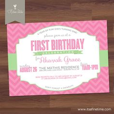 Birthday Party Invitation Girl - First Birthday - Chevron Typography - Pink Green Grey Gray (DIY Printable). $16.00, via Etsy.