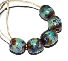 Unusual Ceramic Barrel Beads Decal Turquoise Navy Brown by Grubbi