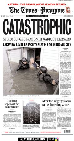 2 The Front-Page Photos That We Can't Forget From Hurricane Katrina. Another picture that shows emotions that show the exact feeling that the old man is going through. I like how they have the cops saving the old man. Louisiana History, New Orleans Louisiana, Louisiana Creole, Hurricane Katrina New Orleans, Newspaper Front Pages, Hurricane Preparedness, Storm Surge, Army Corps Of Engineers, Natural Disasters