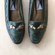 a7d8d9dacb0 Forrest Green Leather Loafers 6 • Vintage Leather Flats • Leather Slip On  Shoes • Brozne Horse Heads