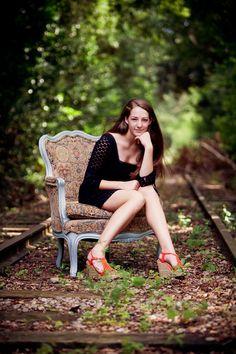 senior photography Senior Girl Covington, GA Conyers Atlanta RRtracks  old chair vintage Newton Georgia Cindy Wright Cindy Lowe