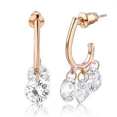fashion Women cubic Swarovski crystal earring dangle hoop rose gold GP Xmas CE25 #crazycenter #DropDangle