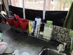 Pop Up Camper storage idea. Found on Facebook backsplash storage. Could also use on the homemade tension rod shelf.