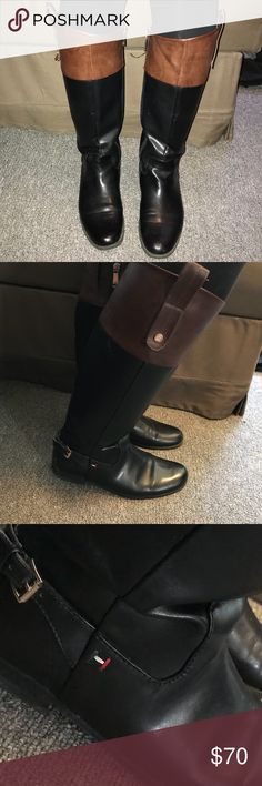 Tommy Hilfiger brown and black boots - size 7.5 Super cute and in great condition. Bought for $150 . Size 7.5 in women's and brown and black colored Tommy Hilfiger Shoes