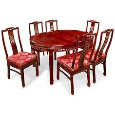 58in Rosewood Bird and Flower Design Oval Table with 6 Chairs